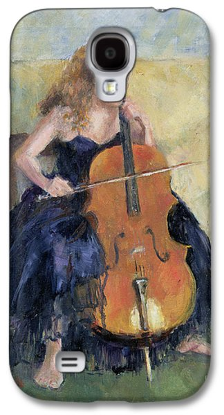Strapless Dress Galaxy S4 Cases - The Cello Player, 1995 Galaxy S4 Case by Karen Armitage