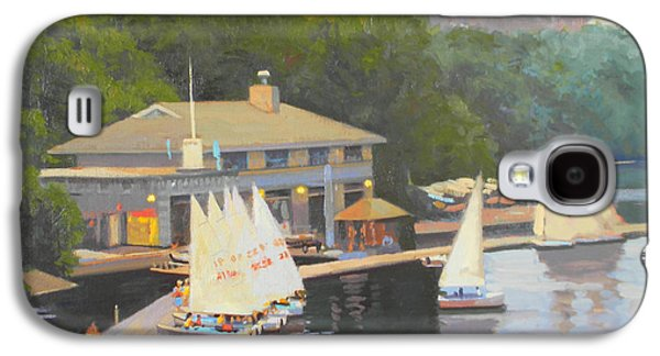 Charles River Paintings Galaxy S4 Cases - The Charles River Sailing Club Galaxy S4 Case by Dianne Panarelli Miller