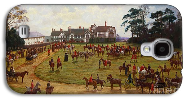 Pastimes Galaxy S4 Cases - The Cheshire Hunt    The Meet at Calveley Hall  Galaxy S4 Case by George Goodwin Kilburne