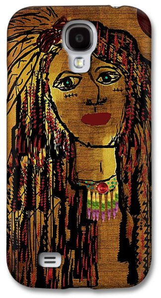 Brave Mixed Media Galaxy S4 Cases - The cheyenne indian warrior Brave Wolf pop art Galaxy S4 Case by Pepita Selles