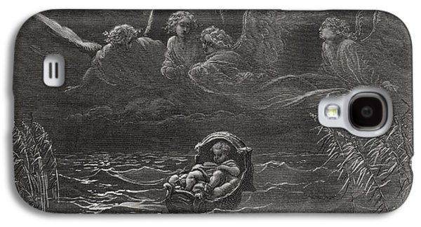 Religious Drawings Galaxy S4 Cases - The Child Moses on the Nile Galaxy S4 Case by Gustave Dore