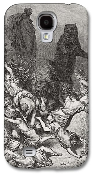 Religious Drawings Galaxy S4 Cases - The Children Destroyed by Bears Galaxy S4 Case by Gustave Dore