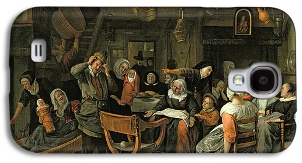 Interior Scene Galaxy S4 Cases - The Christening Feast, 1668 Oil On Canvas Galaxy S4 Case by Jan Havicksz. Steen