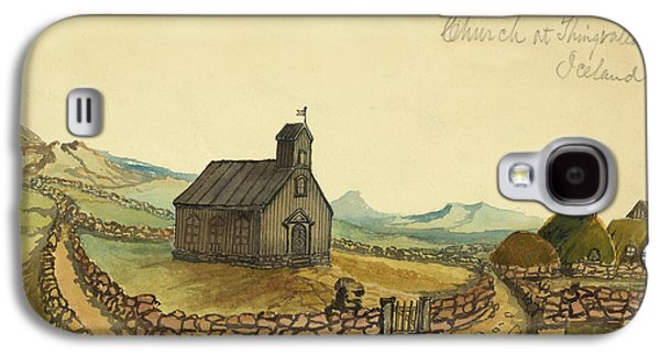 Church Drawings Galaxy S4 Cases - The Church at Thingvalla Iceland Circa 1862 Galaxy S4 Case by Aged Pixel