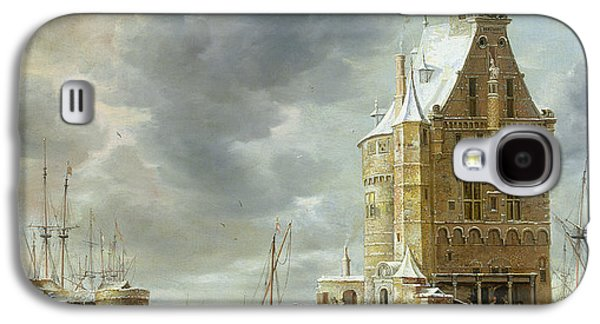 Ice-skating Galaxy S4 Cases - The City Gate Of Hoorn Oil On Canvas Galaxy S4 Case by Jan Abrahamsz. Beerstraten