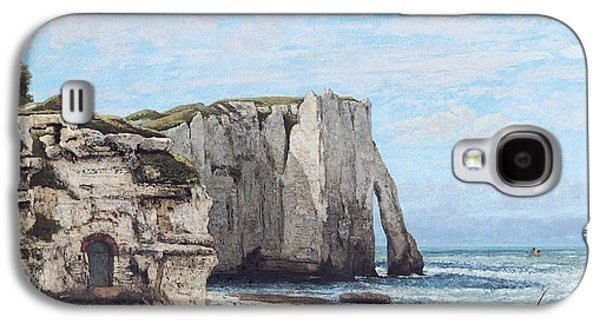 Beach Landscape Galaxy S4 Cases - The Cliffs At Etretat After The Storm, 1870 Oil On Canvas Galaxy S4 Case by Gustave Courbet