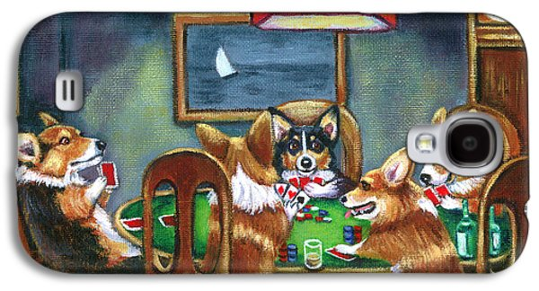 Dog Paintings Galaxy S4 Cases - The Corgi Poker Game Galaxy S4 Case by Lyn Cook