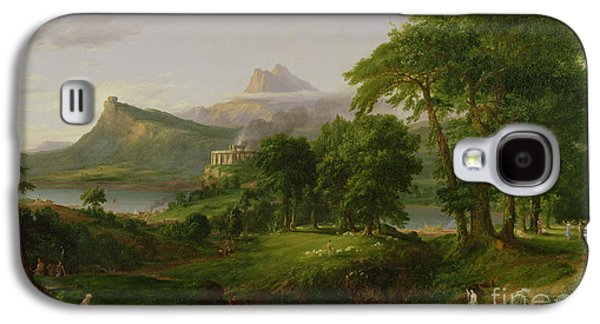 Temple Paintings Galaxy S4 Cases - The Course of Empire   The Arcadian or Pastoral State Galaxy S4 Case by Thomas Cole