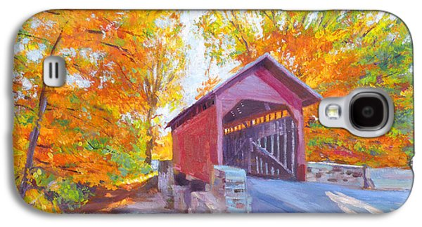 Covered Bridge Paintings Galaxy S4 Cases - The Covered Bridge Galaxy S4 Case by David Lloyd Glover
