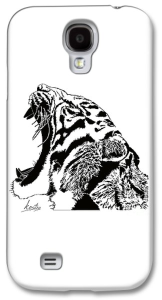 Crying Drawings Galaxy S4 Cases - The cry of the tiger Galaxy S4 Case by Kostis drawings