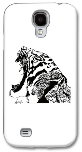 Crying Drawings Galaxy S4 Cases - The cry of the tiger Galaxy S4 Case by Magdalen DgArtStudio