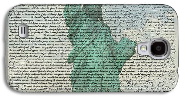 4th July Galaxy S4 Cases - The Declaration of Independence - Statue of Liberty Galaxy S4 Case by Stephen Stookey