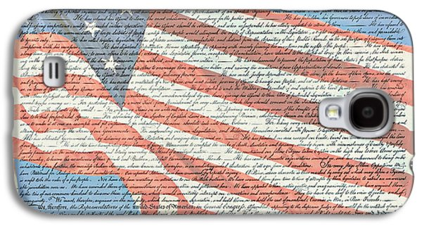 4th July Galaxy S4 Cases - The Declaration of Independence - Star-Spangled Banner Galaxy S4 Case by Stephen Stookey
