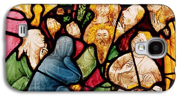 Pentecost Galaxy S4 Cases - The Descent Of The Holy Spirit, C.1400 Stained Glass Galaxy S4 Case by French School