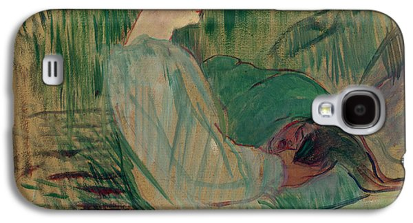 Portraits Pastels Galaxy S4 Cases - The Divan Rolande Galaxy S4 Case by Henri de Toulouse-Lautrec