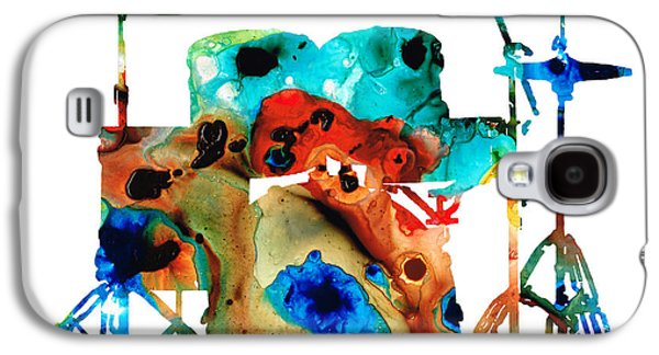 Print Mixed Media Galaxy S4 Cases - The Drums - Music Art By Sharon Cummings Galaxy S4 Case by Sharon Cummings