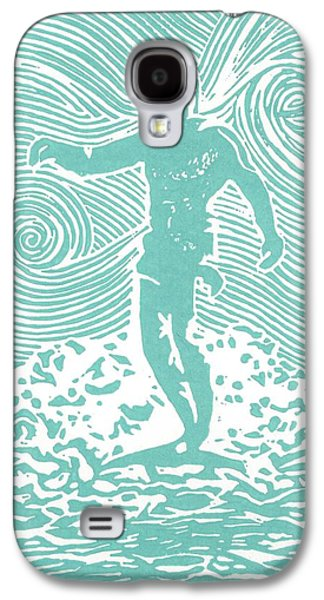 Lino Paintings Galaxy S4 Cases - The Duke in Aqua Galaxy S4 Case by Stephanie Troxell