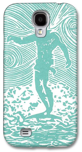 Lino-cut Galaxy S4 Cases - The Duke in Aqua Galaxy S4 Case by Stephanie Troxell