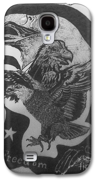 Indian Ink Mixed Media Galaxy S4 Cases - The eagle of freedom Galaxy S4 Case by Franky A HICKS