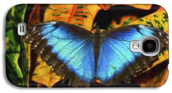 Abstract Digital Photographs Galaxy S4 Cases - The Electric Blue Morpho Butterfly  Galaxy S4 Case by Saija  Lehtonen