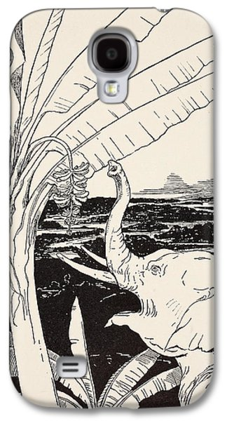 Ink Drawing Drawings Galaxy S4 Cases - The Elephants Child going to pull bananas off a banana-tree Galaxy S4 Case by Joseph Rudyard Kipling