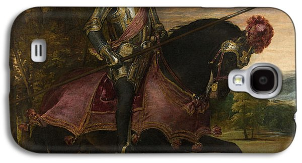 Holy Galaxy S4 Cases - The Emperor Charles V 1500-58 On Horseback In Muhlberg, 1548 Oil On Canvas Galaxy S4 Case by Titian