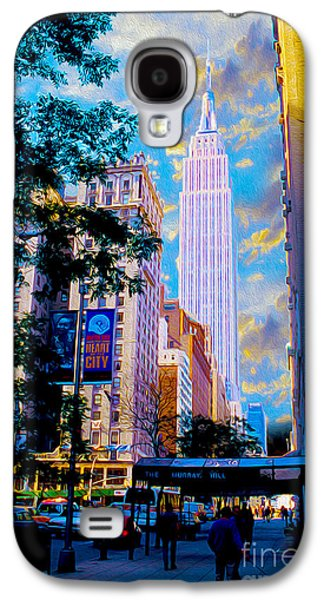 Nyc Mixed Media Galaxy S4 Cases - The Empire State Building Galaxy S4 Case by Jon Neidert