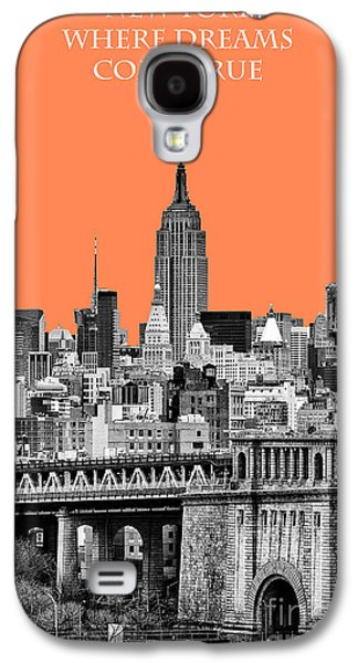 The New York New York Galaxy S4 Cases - The Empire State Building pantone nectarine Galaxy S4 Case by John Farnan