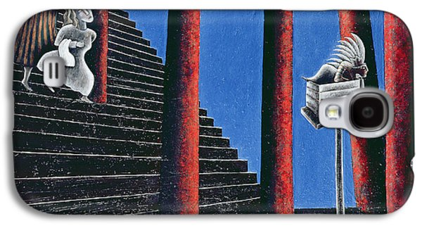 Staircase Galaxy S4 Cases - The Enigma Of Descent, 1993 Oil On Canvas Galaxy S4 Case by Celia Washington