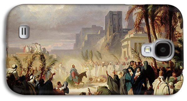 Jerusalem Paintings Galaxy S4 Cases - The Entry of Christ into Jerusalem Galaxy S4 Case by Louis Felix Leullier