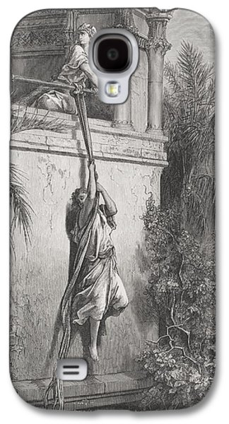 Religious Drawings Galaxy S4 Cases - The Escape of David through the Window Galaxy S4 Case by Gustave Dore