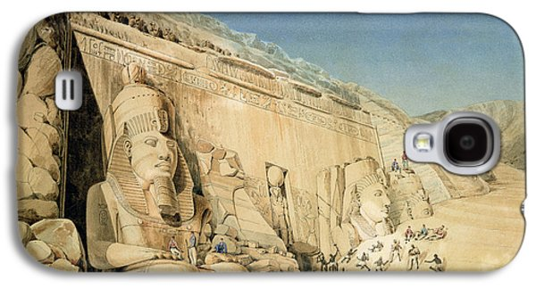 Ancient Paintings Galaxy S4 Cases - The Excavation of the Great Temple of Ramesses II Galaxy S4 Case by Louis MA Linant de Bellefonds