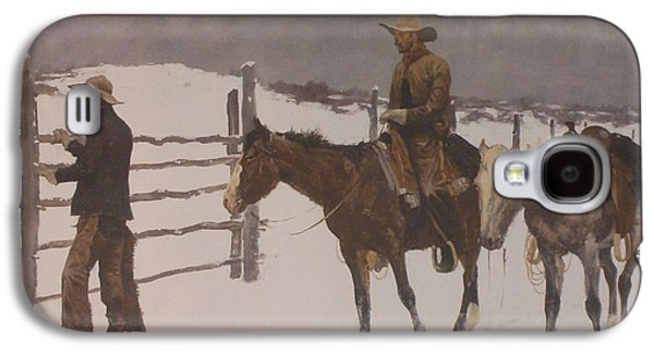 Rail Digital Art Galaxy S4 Cases - The Fall Of The Cowboy Galaxy S4 Case by Frederic Remington