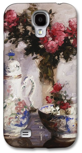 Indoor Still Life Galaxy S4 Cases - The Famille Rose Coffee Pot Galaxy S4 Case by Francis Campbell Boileau Cadell