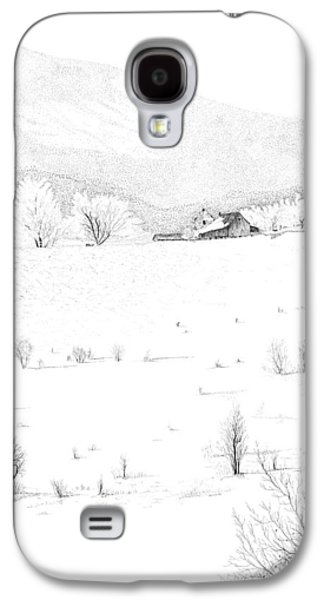 Pen And Ink Of Barn Drawings Galaxy S4 Cases - The Farm Galaxy S4 Case by Carl Genovese