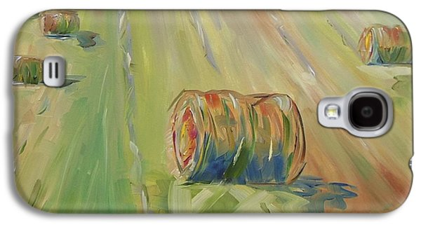 Haybales Paintings Galaxy S4 Cases - The Farm Galaxy S4 Case by Josephine Hardison