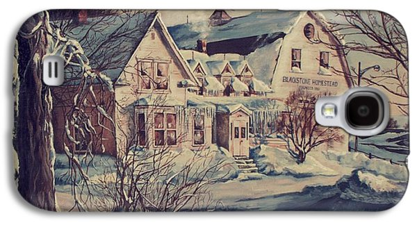 New England Snow Scene Paintings Galaxy S4 Cases - The Farm Galaxy S4 Case by Joy Nichols
