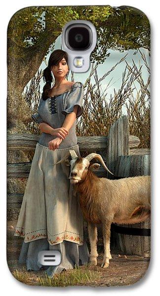 Goat Digital Art Galaxy S4 Cases - The Farmers Daughter Galaxy S4 Case by Daniel Eskridge