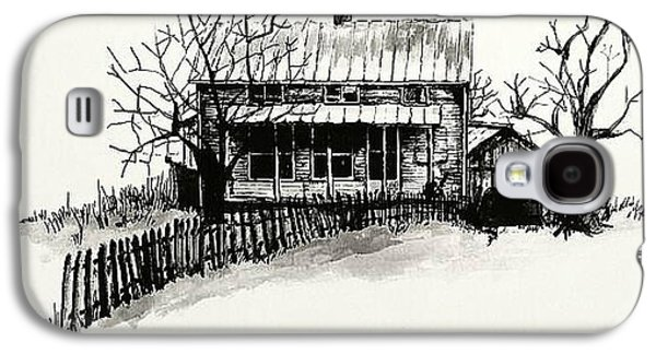 Shed Drawings Galaxy S4 Cases - The Farmhouse Galaxy S4 Case by Terry Ganey