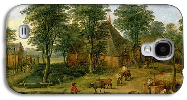 Laundry Paintings Galaxy S4 Cases - The Farmyard Galaxy S4 Case by Jan the Younger Brueghel