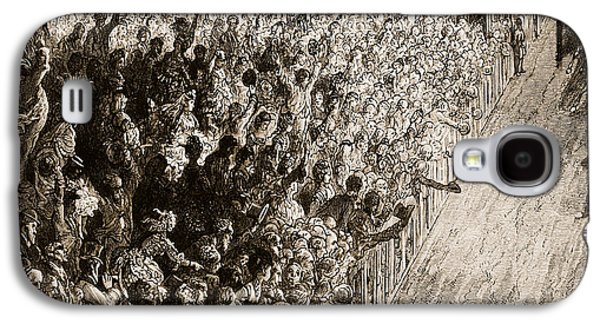 Crowd Galaxy S4 Cases - The Finishing Line of the Derby Galaxy S4 Case by Gustave Dore