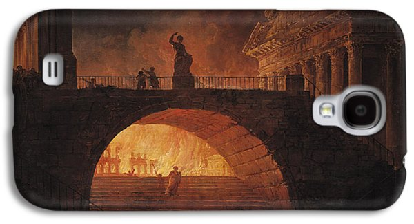 July Paintings Galaxy S4 Cases - The Fire of Rome Galaxy S4 Case by Hubert Robert