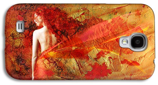 Painted Mixed Media Galaxy S4 Cases - The Fire Within Galaxy S4 Case by Photodream Art