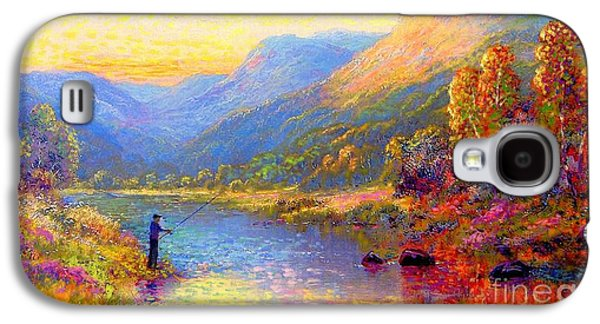Salmon Paintings Galaxy S4 Cases - Fishing and Dreaming Galaxy S4 Case by Jane Small