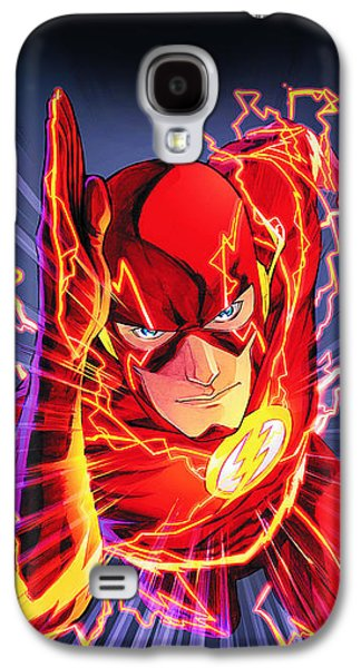 Men Drawings Galaxy S4 Cases - The Flash Galaxy S4 Case by FHT Designs