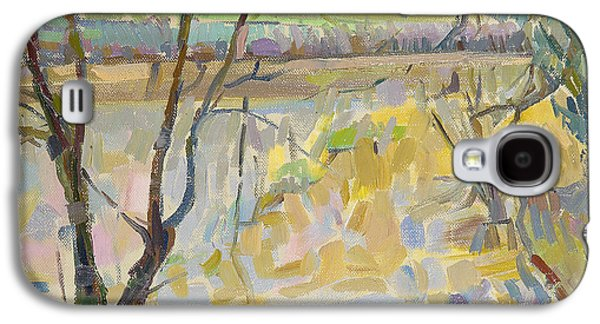 River Flooding Galaxy S4 Cases - The Flooded Cherwell From Rousham Ii Oil On Canvas Galaxy S4 Case by Erin Townsend