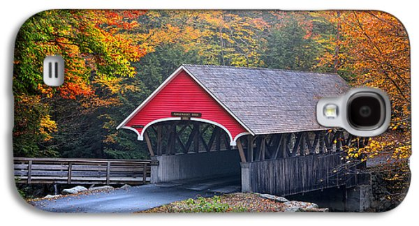 New England Village Galaxy S4 Cases - The Flume Covered Bridge Galaxy S4 Case by Thomas Schoeller