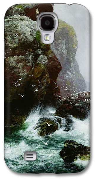 Mist Paintings Galaxy S4 Cases - The Fowlers Crag Galaxy S4 Case by Peter Graham