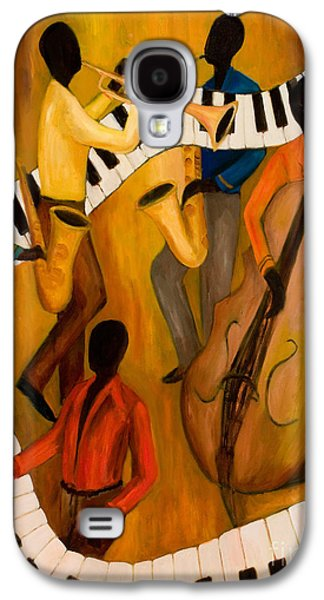 African-american Galaxy S4 Cases - The Get-Down Jazz Quintet Galaxy S4 Case by Larry Martin