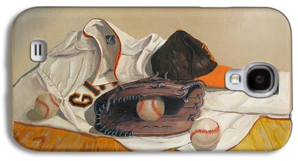 Baseball Glove Paintings Galaxy S4 Cases - The Giant Sleeps Tonight Galaxy S4 Case by Ryan Williams